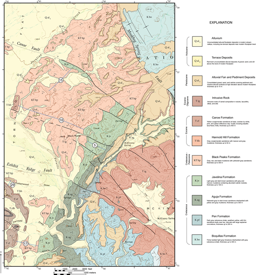 Geologic map of region north and west of McKinney Hills showing distribution of formations in the Tornillo Group and location of stratigraphic sections.