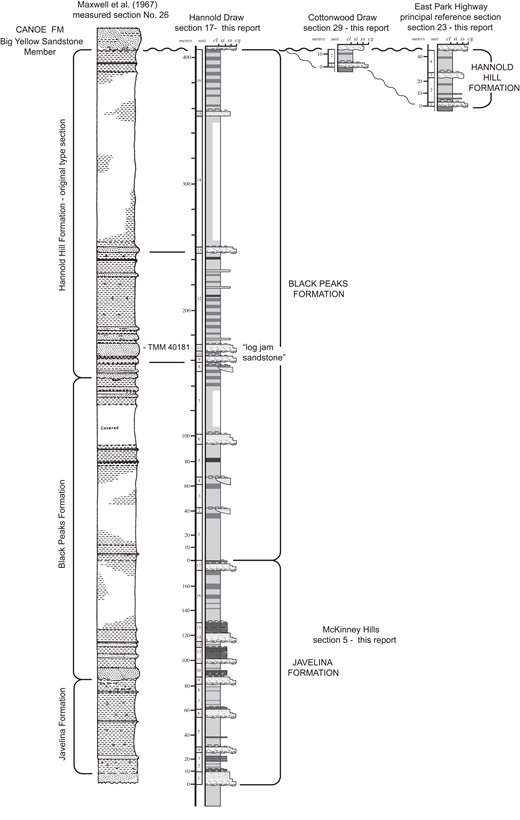 Original type section of the Hannold Hill Formation (left, modified from Maxwell et al., 1967) showing correspondence with stratigraphic units recognized in the present study; section measured in the same area for the present study; and correlation (right) with adjacent section on Cottonwood Creek and the principal reference section for the Hannold Hill Formation measured nearby for the present study. cl—claystone; si—siltstone; ss—sandstone; cg—conglomerate.