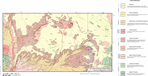 Geologic map of the type area of the Hannold Hill Formation on southern Tornillo Flat in Big Bend National Park, showing path of original type section measured by Maxwell et al. (1967), the principal reference section measured for the present study, and exposures identified as Hannold Hill Formation in the present study.