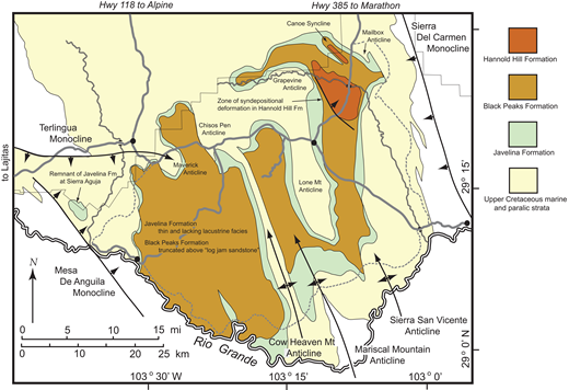 Simplified geologic map of Big Bend National Park and vicinity showing general distribution of units in the Tornillo Group (cover by Paleogene and Neogene volcanic and intrusive rocks, and alluvium removed) and major structures thought to have been active during the Laramide orogeny.
