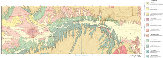 Geologic map of the region northwest of Grapevine Hills showing distribution of formations in the Tornillo Group and location of stratigraphic sections; part of map on Sombrero Peak quadrangle (vicinity of section 31) adapted from Adams (2014).