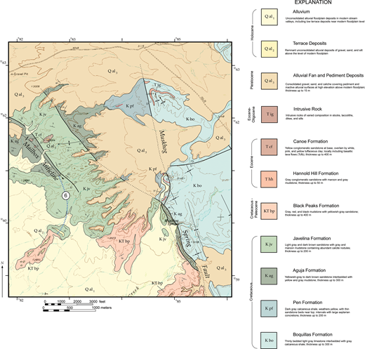 Geologic map of the region south of Dagger Flat showing distribution of formations in the Tornillo Group and location of stratigraphic sections.