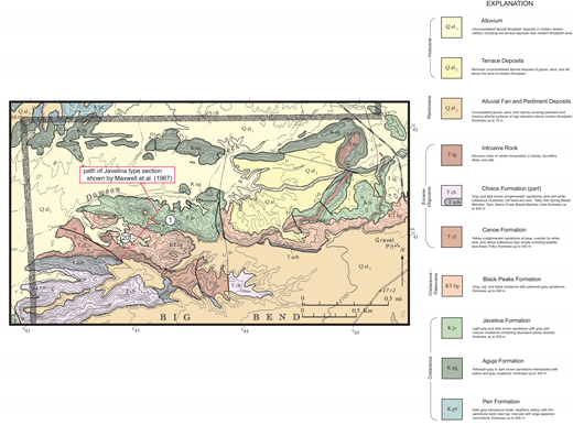 Geologic map of the type area of the Javelina Formation on the south side of Dawson Creek, near the west entrance to Big Bend National Park, showing path of original type section measured by Maxwell et al. (1967) and that part of the section identified as Javelina Formation in the present study (section 1).