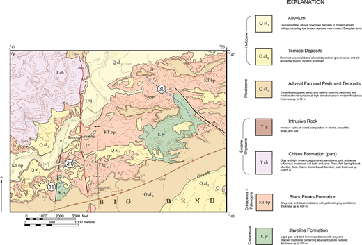 Geologic map of the region along Rough Run Creek showing distribution of formations in the Tornillo Group and location of stratigraphic sections.