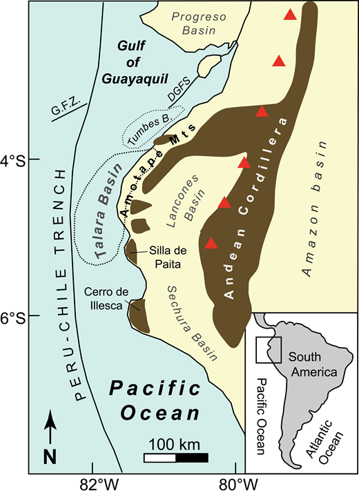 Map showing the location of the Talara basin in northwestern Peru. Modified from Hessler and Fildani (2015). DGFS—Dolores-Guayaquil fault system; G.F.Z.—Guayaquil fracture zone.