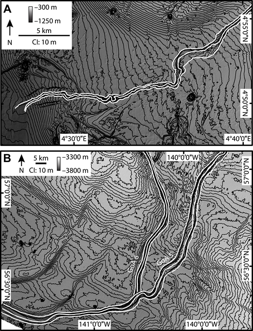 (A) Bathymetry from the Niger slope, offshore Nigeria in the Atlantic Ocean, showing dramatic slope variability due to shale diapirism and localized width changes in the Niger 9 channel. Note widening at channel mouth at the downstream (west) end of the channel, where the upstream end of a lobe deposit can be observed. (B) Bathymetry from the Gulf of Alaska (GoA), offshore the southern coasts of Alaska, USA and Canada in the Pacific Ocean, showing the confluence of the west (GoA 6) and east (GoA 5) legs of the Chirikov channel. Flow direction is to the south and west. White lines in A and B are the manually mapped channel thalwegs and margins. CI—contour interval.