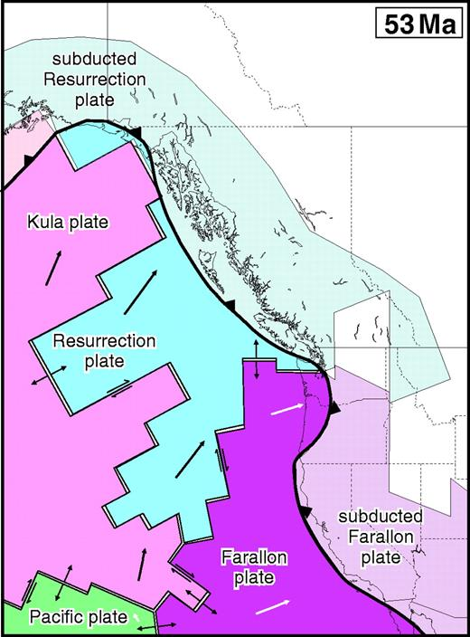 Figure 6. The first frame of the tectonic model at 53 Ma, which represents a best-fit plate configuration for the Pacific Basin developed to account for the forearc magmatic record from Alaska to Oregon. The oceanic plates include the Kula plate, Resurrection plate, Pacific plate, and Farallon plate. The oceanic portions of these plates are labeled to the west of the trench (represented by the toothed line) and the subducted components are to the east and north of the trench. Subducted oceanic crust was geometrically modeled to move at the same vectors as the attached plates in the ocean basin. Arrows on the plates represent vectors for 3 m.y. of plate motion. The vectors were calculated from published stage poles of Norton (1995) and Lonsdale (1988), and Resurrection plate vectors were estimated for this study as discussed in the text. Subducted slabs are diagrammatically shown to terminate at the 300 km isobath on this and all subsequent figures. White areas to the east and north of the trench represent mantle. Mantle-filled gaps between subducted plates are slab windows. The 53 Ma model frame displays the generalized slab windows beneath Alaska and British Columbia and the Pacific Northwest that were inherited by this model.
