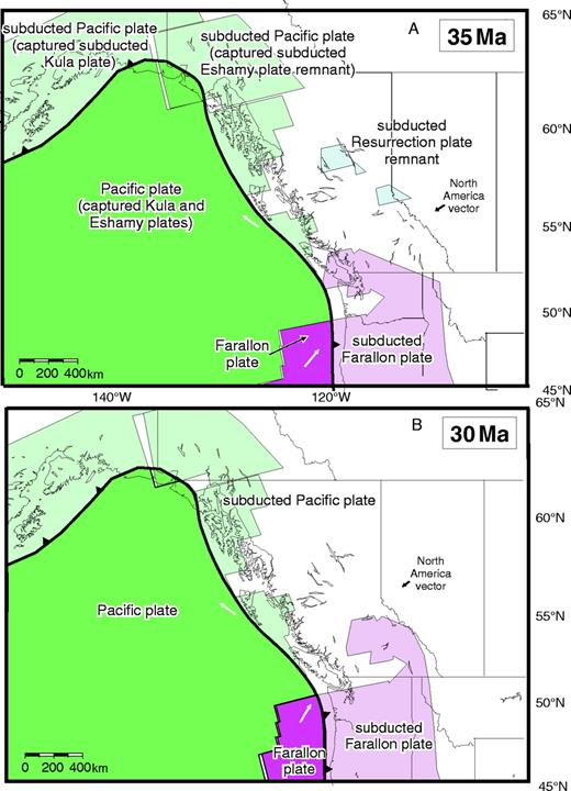 Figure 10. Time slices of the tectonic model at (A) 35 Ma and (B) 30 Ma. In frame A, slab windows are opening beneath Washington, Vancouver Island, and Queen Charlotte Islands, and asthenosphere underlies most of British Columbia. The subducted portion of the Resurrection plate has foundered into the mantle since 39 Ma. The extinct ridge in the Gulf of Alaska remains in a stationary position during subduction. In Frame B, the slab window, which was underlying Washington, has migrated north to underlie southern British Columbia. The Resurrection plate remnants have equilibrated with the mantle, and a vast slab window is present beneath British Columbia. Late Oligocene to Recent magmatism is beginning inboard of the trench. Arrows shown represent 3 m.y. of plate motion.