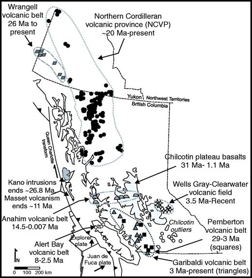 Figure 11. Late Oligocene to present forearc, arc, and within-plate magmatism in British Columbia, Yukon, and southeast Alaska. Volcanic fields are outlined. Individual volcanic centers of the northern Cordilleran volcanic province, Anahim belt, Wells Gray–Clearwater, and Wrangell fields are depicted by shapes within outlined fields. The Chilcotin Plateau is represented by the gray field in interior British Columbia. Arc magmatism is represented by squares and triangles of the Pemberton and Garibaldi belts, respectively. Oligocene to present forearc magmatism is found on Queen Charlotte Islands (Kano intrusions and Masset volcanics) and northern Vancouver Island (Alert Bay volcanic belt). The volcanic fields are described in the text. This figure is provided for comparison with the late Oligocene to present slab window reconstructions in Figures 10 and 12–14.