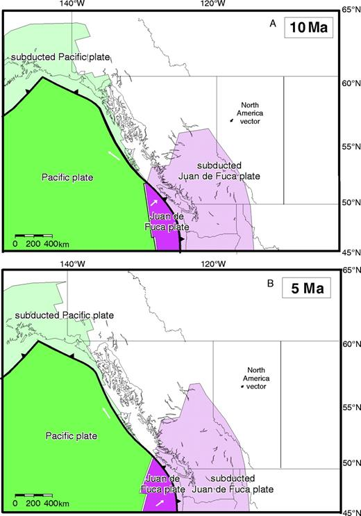 Figure 13. Time slices from the tectonic model at (A) 10 Ma and (B) 5 Ma. A large, stable slab window present underneath northern British Columbia has persisted until present. Queen Charlotte Islands are possibly underlain by a small protrusion of Pacific plate, but the plate boundary may instead be transpressional. Regardless, Queen Charlotte Islands are dominantly underlain by asthenosphere and not subducted Pacific slab. Vectors displayed on plates represent 3 m.y. of plate motion.