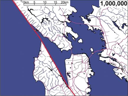 Animation 1. Motion of the San Andreas Fault near San Francisco for the next million years, shown on progressively longer time scales and larger areal scales. The inclusion of cultural features is solely to illustrate the scale and rate of fault motion, and does not imply any predictions of future seismic hazard. Seismic risk is large throughout the entire figure area. Few if any of the cultural features shown are likely to be extant in their present form even 1000 yr from now, let alone longer time scales. A slip of 2.5 cm/yr on the San Andreas proper is assumed, based on the overall rate of ∼4 cm/yr of total Pacific–North American plate motion found by Argus and Gordon (2001), and the roughly 1.5 cm/yr long-term average of slip for other Bay Area faults estimated by Graymer et al. (2002). If you are viewing the PDF, or if you are reading this offline, please visit www.gsajournals.org or http://dx.doi.org/10.1130/GES00012.S1 to view the animation.