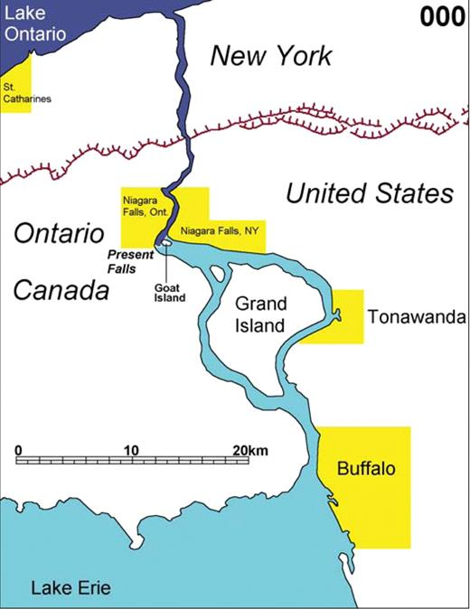 Animation 4. Map showing the retreat of Niagara Falls from its inception 12 k.y. ago to 30 k.y. in the future. Upper Niagara and Lake Erie flow is in light blue, the gorge below the retreating Lockport Formation falls is dark blue, the future Salina Gorge is purple, and abandoned channels are in gray. The red hachured line represents the Niagara escarpment. If you are viewing the PDF, or if you are reading this offline, please visit www.gsajournals.org or http://dx.doi.org/10.1130/GES00012.S4 to view the animation.
