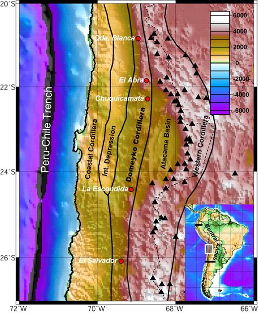 Figure 1. Morphotectonic units of the northern Chile forearc. Inset shows the location of the study area in the context of the Central Andes. Black triangles are Holocene volcanoes. Red points with white names are world-class porphyry copper deposits of Eocene–Oligocene age.