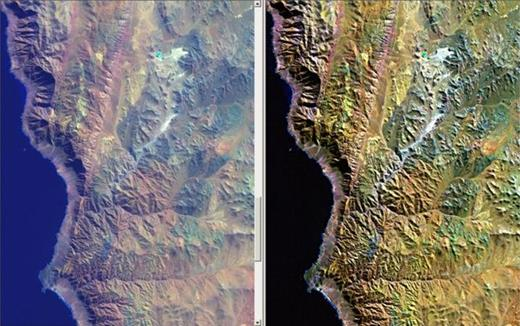 Figure 3. The atmosphere selectively scatters shorter wavelengths of light. Atmospheric scattering produces haze, which results in low image contrast and poor brightness. To reduce these effects, the value of an intercept offset is substracted from the digital numbers of each spectral band (histogram minimum method). The left image shows uncorrected Landsat Thematic Mapper (TM) data (bands 7, 4, and 1 in red, green, and blue) of the Chilean Coastal Cordillera with apparent haze and dull colors. The right image shows corrected Landsat TM data with resultant high contrast and color saturation. Correction of atmospheric scattering is essential for further image optimization and classification.