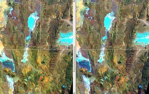 Figure 4. Data adjustment of Landsat data by histogram matching is necessary when two or more contiguous images are to be joined to form a mosaic. Landsat data acquired at different times under different seasonal and climatic conditions will result in inhomogeneous image appearance. Note the oblique line in the left image, which represents the boundary between two different Landsat frames. The boundary is indicated by a crosshair. Rocks and other surfaces show different hues. The upper part of the image is darker in general, whereas the lower part is brighter and yellower. Thus, the differing appearance needs to be adjusted. The resulting image mosaic at the right shows homogeneous hues without any apparent boundary of Landsat frames.