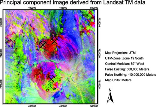 Figure 8. The PCA image is the result of the fifth (clay), fourth (lithology), and third (lithology) principal components displayed in red, green, and blue. This PCA color image reflects best the distribution of altered diorites and clay minerals. Spectral anomalies of altered rocks are highlighted in purple to red and can be recognized easily. Anomalous colors represent various rock types. Sedimentary rocks are displayed in bluish to greenish colors, felsic volcanics are displayed in pinkish to purple colors, and intrusives are displayed in deep purple and red colors. Quaternary deposits are shown in various but bright colors. In summary, spectral differences between rocks may be more apparent in PC images than in individual bands. Anomalous PC colors derived do not correspond to spectral reflectance and absorption of rocks because of the data transformation. Current open pits at La Escondida mining district are marked by symbols.