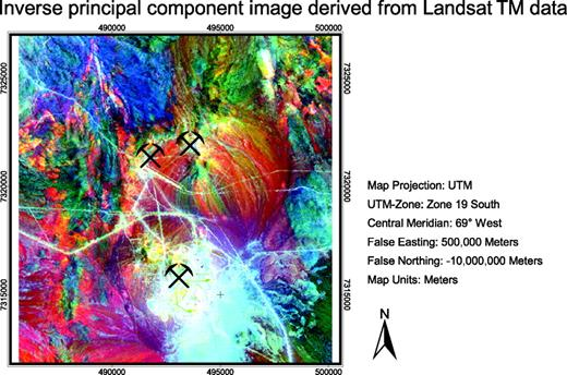Figure 10. Image is a color composite of the highly decorrelated bands 5, 3, and 1 in red, green, and blue. This inverse PCA color composite reflects best the distribution of altered intrusive rocks and clay minerals. Spectral anomalies of altered intrusive rocks are displayed in yellow and reddish colors. Sedimentary rocks are displayed in various colors, ranging from pink to blue and green. Felsic volcanic rocks are displayed in deep blue to blue green. Alluvial deposits show characteristic pink and purple colors but vary with chemical composition of bedrock. Because of more or less original hues of rocks, the image is more interpretable than the principal components with resulting anomalous hues. Current open pits at La Escondida mining district are marked by symbols.