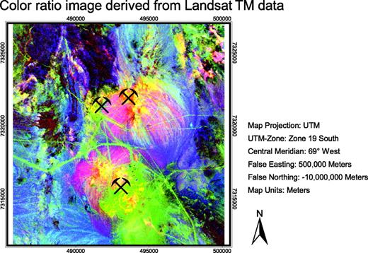 Figure 12. This image shows a color ratio image (band ratios 5/7, 3/1, and 4/3 in red, green, and blue) derived from Landsat TM data. Digital enhancement and information extraction allow discrimination of altered intrusive rocks from unaltered rocks. Altered intrusive rocks are highlighted in yellow and red colors. Sedimentary rocks are displayed in blue colors. Felsic volcanic rocks show brown to purple colors together with green. Alluvial deposits show pink to purple and blue colors, depending on the bedrock composition. Current open pits at La Escondida mining district are marked by symbols.