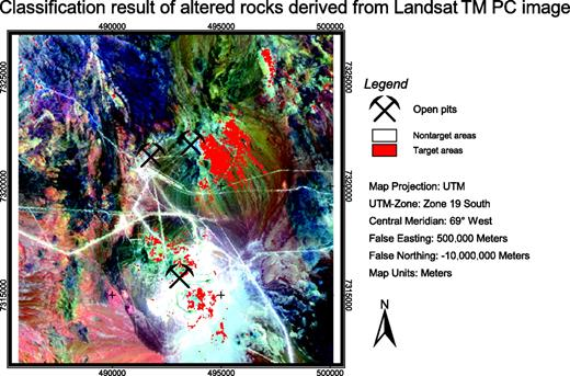 Figure 16. Classification result derived from calculated PC image (see Fig. 8). Target areas of altered rocks in the classified PC image correspond to reddish to purple colors in the PC image. Clustering of target areas is well defined in the central part of the image, whereas in the southern and northern parts, clustering is thinned out. Number of classified target-area pixels derived from PCA is 3.0% of total pixel number.