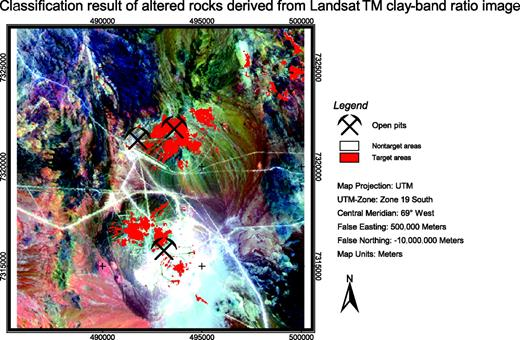 Figure 18. Classification result derived from clay-band ratio image (see Fig. 13). Target areas in the classified clay-band ratio image correspond to light colors that represent high digital numbers in the clay-band ratio. Clustering of target areas is well defined in the central and southern parts of the image, whereas in the northern parts, clustering is thinned out. Number of target-area pixels derived from clay-band ratioing is 3.8% of total pixel number.