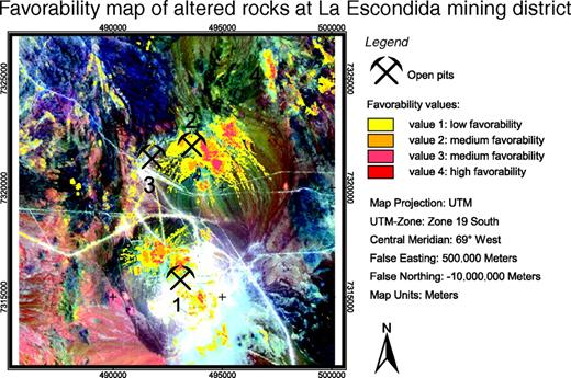Figure 20. Favorability map from the training site at La Escondida mining district. Calculated favorability map shows the spatial distribution of altered rocks. Note the high spatial correlation of host rocks with the current open pit at La Escondida (location 1). In the pre-mining Landsat data, there is evidence for altered magmatic rocks for the current pit at Escondida Norte (location 2), because it is calculated to be a major target area and verifies the results of this favorability mapping. Current open pit at Zaldivar (location 3) is not calculated as a major target area. A reason for this might be that Zaldivar (1) is a supergene copper deposit, formed by transported aqueous solutions in addition to precipitation by groundwater and is therefore not correlative with altered rocks near the surface, or (2) is under postmineralization rock cover and cannot be detected by satellite sensors.