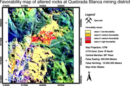 Figure 21. Favorability map from the training site at Quebrada Blanca mining district. The calculated favorability map shows the spatial distribution of altered rocks. Note the high spatial correlation of host rocks with the current open pit at Quebrada Blanca (location 1).