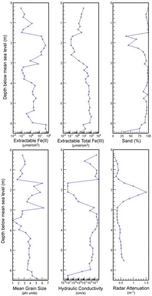 Figure 3. Vertical logs of several types of data collected at borehole D1 within the simulated transect.