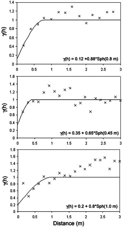 Figure 4. Vertical indicator variogram (symbols—experimental; line—model) of binary sand/mud facies (top), hydraulic conductivity (center), and Fe(III) content (bottom).