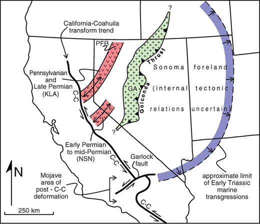 Figure 5. Syn-Sonoma (ca. 250 Ma) paleotectonic map of the Great Basin and adjacent areas (GA—Golconda allochthon) near the Permian-Triassic time boundary during oblique truncation of the Cordilleran continental margin by the California-Coahuila transform (C-C), which is contorted and offset by younger deformation in the Mojave region south of the Garlock fault. Eastern Klamath Mountains (KLA) and northern Sierra Nevada (NSN) arcs and remnant arcs (double-headed arrows denote NE-SW tectonic trends within the island-arc complex) are shifted SSE by 210 km to reverse Early Cretaceous dextral slip along the Mojave–Snow Lake fault, and the Klamath Mountains block is additionally shifted eastward to align with the Sierra Nevada block prior to Early Cretaceous forearc extension (Constenius et al., 2000) and later translation associated with Paleogene clockwise rotation of the Pacific Northwest (Oregon-Washington) Coast Range (see Fig. 8). PFR–Pine Forest Range.