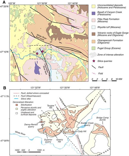 """Figure 2. (A) Generalized geologic map of the White River altered area and surrounding region, modified from Tabor et al. (2000). Stars indicate main silica deposits: Su—Superior quarry; Sc—Scatter Creek quarry. White dotted line is fault """"A"""" discussed in text. Hachured pattern shows extent of intense alteration and silicification. Dashed box shows outline of detailed map in B. (B) Map showing generalized distribution of hydrothermal alteration and locations of silica quarries and other geographic features in the White River altered area. Areas of hydrothermal alteration and faults were modified from unpublished mapping (Weyerhaeuser Company, written commun., 2004)."""