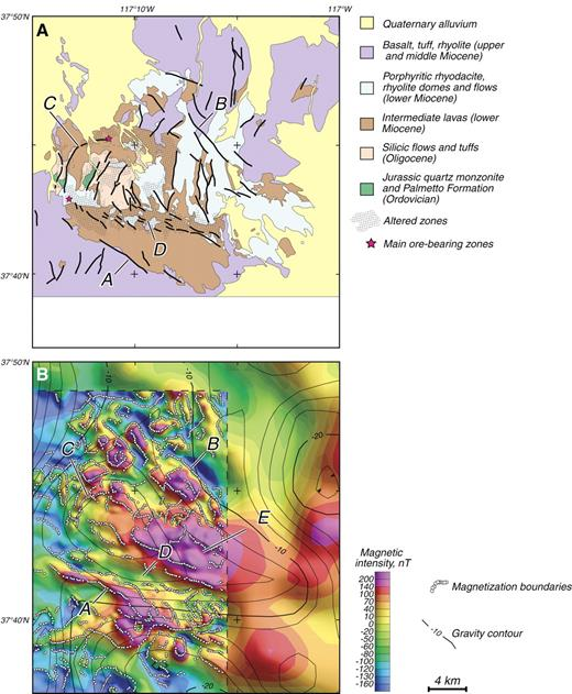 Figure 3. (A) Geologic map of the Goldfield mining district, modified from Ashley (1990). Stipple pattern indicates altered zones. (B) Aeromagnetic (color shaded relief) and gravity anomalies (line contours) of the Goldfield mining district and surrounding regions. Two aeromagnetic surveys are shown: a high-resolution survey of the interior region, described by Berger et al. (2005), and regional-scale data over surrounding areas taken from a statewide compilation (Hildenbrand and Kucks, 1988). Gravity data are from Ponce (1997). White dots are computer-generated interpretations of magnetic contacts, using a method described by Blakely and Simpson (1986). Letters indicate anomalies discussed in text. Contours are isostatic residual gravity anomalies at 2 mGal contour interval.