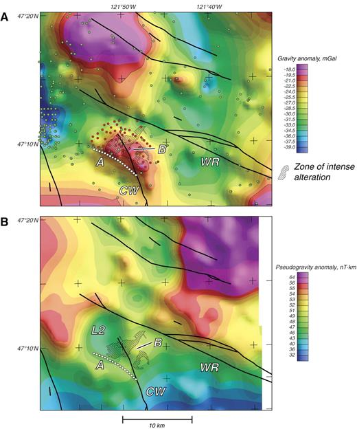 Figure 5. (A) Isostatic residual gravity map of the White River altered area (Simpson et al., 1986). Blue and red dots are gravity stations; red dots are stations acquired as part of this investigation. (B) Pseudogravity map, calculated directly from aeromagnetic anomalies (Fig. 2). The pseudogravity transformation transforms magnetic anomalies into the mathematical equivalent of gravity anomalies; see Blakely (1995) for theoretical description. Black lines are faults mapped by Tabor et al. (2000). WR—White River fault; CW—Clearwater River fault. Other labels are discussed in text.