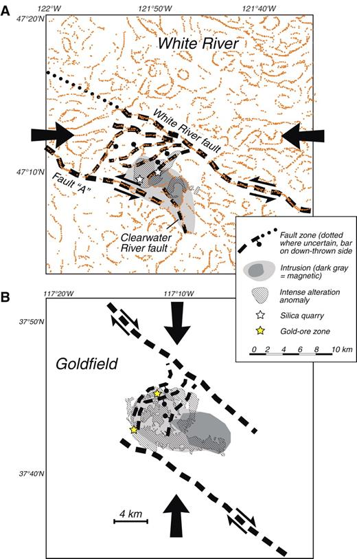 Figure 7. (A) Interpretation of structural and magmatic setting during formation of the White River altered area. Orange dots are magnetic boundaries from Figure 4. (B) Interpretation of structural and magmatic setting of the Goldfield gold district. Both maps are at approximately the same scale. Large arrows indicate direction of maximum horizontal stress during formation of hydrothermal systems.