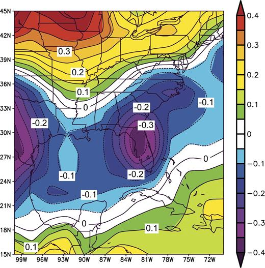 Figure 4. Map of composite annual temperature anomalies in °C from the southeastern United States and the region surrounding the Gulf of Mexico for the nine El Niño years, 1957–1958, 1965–1966, 1968–1969, 1972–1973, 1982–1983, 1986–1987, 1991–1992, 1997–1998, and 2002–2003, each covering the twelve months from May of the first year to April of the second, and referenced against the mean monthly anomalies between 1968 and 1996. Note the lowered temperatures in the area surrounding the Gulf of Mexico and the southeastern United States and the increased temperatures north of ∼34°N, similar to that shown by paleo-temperature anomalies shown in Figure 5.