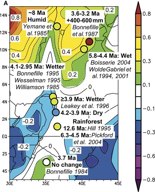 Figure 10. Comparisons of inferred differences between late Miocene-early Pliocene and present-day precipitation from East Africa with those associated with El Niño events and the Pacific Decadal Oscillation Index of Mantua et al. (1997). (A) Such differences are superimposed on a map of composite precipitation anomalies (in mm/day) from the East Africa for the nine El Niño years, 1957–1958, 1965–1966, 1968–1969, 1972–1973, 1982–1983, 1986–1987, 1991–1992, 1997–1998, and 2002–1903, each covering the twelve months from May of the first year to April of the second, and referenced against the mean monthly anomalies between 1968 and 1996. (B) Differences between late Miocene-early Pliocene and present-day precipitation from East Africa are superimposed on a map of correlations of precipitation anomalies between 1949 and 2003 with the Pacific Decadal Oscillation Index of Mantua et al. (1997).