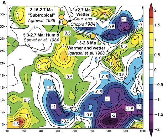 Figure 11. Comparisons of inferred differences between early Pliocene and present-day precipitation from the Indian subcontinent with that associated with El Niño events. (A) Such differences are superimposed on a map of precipitation anomalies (in mm/day) for the period May 1997 to April 1998, compared with the average for the period 1968–1996. (B) Binary correlations of paleo-precipitation anomalies with El Niño teleconnections are shown for each event. On the right, numbers show probabilities of the fraction of the locations with positive correlations equaling or exceeding the value shown on the left, assuming that the probability obeys a binomial law with probability of agreement or disagreement equaling 0.5.