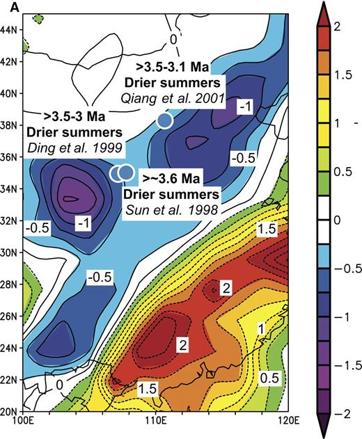 Figure 12. Comparisons of inferred differences between early Pliocene and present-day precipitation from eastern China with those associated with El Niño events and the Pacific Decadal Oscillation Index of Mantua et al. (1997). In (A) and (B) such differences are superimposed on maps (A) of precipitation anomalies (in mm/day) for the period May 1997 to April 1998, compared with the average for the period 1968–1996 and (B) of correlations of precipitation anomalies between 1949 and 2003 with the Pacific Decadal Oscillation Index. In (C) binary correlations of paleo-precipitation anomalies with El Niño teleconnections are shown for each event. On the right, numbers show probabilities of the fraction of the locations with positive correlations equaling or exceeding the value shown on the left, assuming that the probability obeys a binomial law with probability of agreement or disagreement equaling 0.5.
