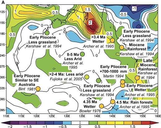 Figure 14. Comparisons of inferred differences between late Miocene-early Pliocene and present-day precipitation from Australia with those associated with El Niño events and the Pacific Decadal Oscillation Index of Mantua et al. (1997). In (A) and (B) such differences are superimposed on maps (A) of precipitation anomalies (in mm/day) for the period May 1997 to April 1998, compared with the average for the period 1968–1996 and (B) of correlations of precipitation anomalies between 1949 and 2003 with the Pacific Decadal Oscillation Index. In (C) binary correlations of paleo-precipitation anomalies with El Niño teleconnections are shown for each event. On the right, numbers show probabilities of the fraction of the locations with positive correlations equaling or exceeding the value shown on the left, assuming that the probability obeys a binomial law with probability of agreement or disagreement equaling 0.5.