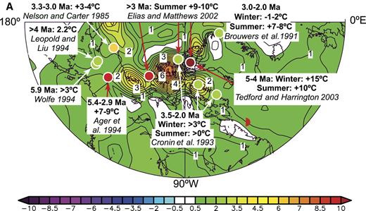 Figure 2. Comparisons of inferred differences between late Miocene-early Pliocene and present-day temperatures from Alaska, Canada, and northern Greenland with those associated with El Niño events and the Pacific Decadal Oscillation Index of Mantua et al. (1997). In (A) and (B) such differences are superimposed on maps (A) of temperature anomalies in °C for the period May 1997 to April 1998, compared with the average for the period 1968–1998 and (B) of temperatures between 1949 and 2003 regressed on the Pacific Decadal Oscillation Index. In (C) correlations of paleo-temperature anomalies with El Niño teleconnections are shown for each event.