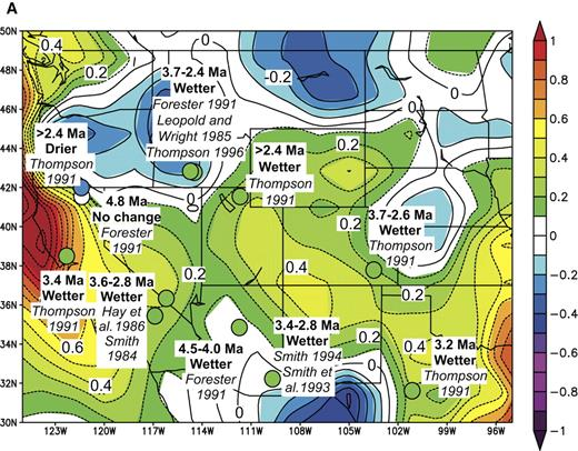 Figure 3. Comparisons of inferred differences between late Miocene-early Pliocene and present-day precipitation from the western United States with those associated with El Niño events and the Pacific Decadal Oscillation Index of Mantua et al. (1997). In (A) and (B) such differences are superimposed on maps (A) of precipitation anomalies (in mm/day) for the period May 1997 to April 1998, compared with the average for the period 1968–1996 and (B) of correlations of precipitation anomalies between 1949 and 2003 with the Pacific Decadal Oscillation Index. In (C) binary correlations of paleo-precipitation anomalies with El Niño teleconnections are shown for each event. On the right, numbers show probabilities of the fraction of the locations with positive correlations equaling or exceeding the value shown on the left, assuming that the probability obeys a binomial law with probability of agreement or disagreement equaling 0.5.