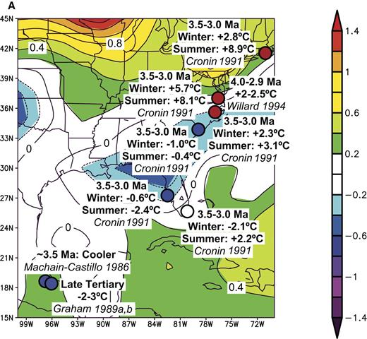 Figure 5. Comparisons of inferred differences between early Pliocene and present-day temperatures from the southeastern United States and the region surrounding the Gulf of Mexico. In (A), (B), and (C) such differences are superimposed on maps (A) of annual temperature anomalies in °C for the period May 1997 to April 1998, (B) of winter (December 1997 to February 1998) temperatures, and (C) summer (June to August 1997) temperatures, all compared with averages for the period 1968–1996. In (D) correlations of paleo-temperature anomalies with El Niño teleconnections are shown for each event.