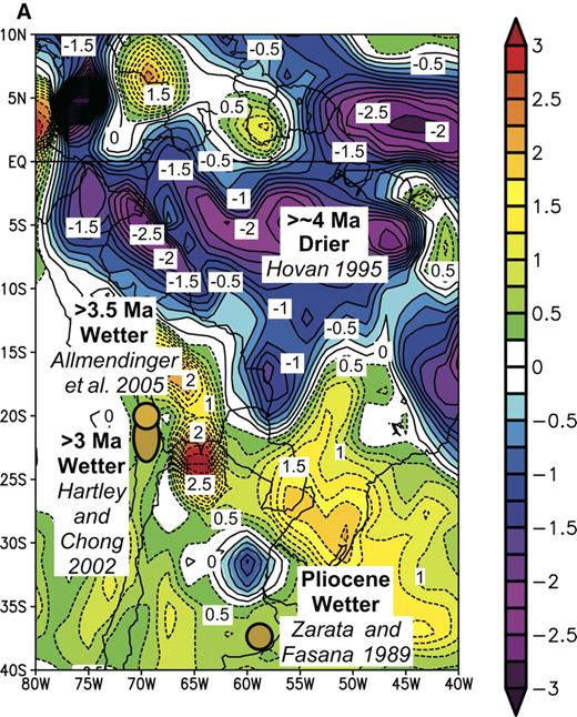 Figure 6. Comparisons of inferred differences between late Miocene-early Pliocene and present-day precipitation from South America with those associated with El Niño events and the Pacific Decadal Oscillation Index of Mantua et al. (1997). In (A) and (B) such differences are superimposed on maps (A) of precipitation anomalies (in mm/day) for the period May 1997 to April 1998, compared with the average for the period 1968–1996 and (B) of correlations of precipitation anomalies between 1949 and 2003 with the Pacific Decadal Oscillation Index. In (C) binary correlations of paleo-precipitation anomalies with El Niño teleconnections are shown for each event. On the right, numbers show probabilities of the fraction of the locations with positive correlations equaling or exceeding the value shown on the left, assuming that the probability obeys a binomial law with probability of agreement or disagreement equaling 0.5.