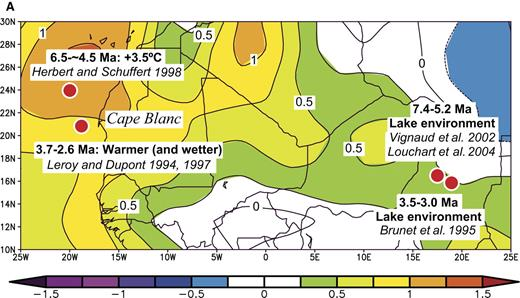 Figure 9. Comparisons of inferred differences between late Miocene-early Pliocene and present-day temperatures from west and central Africa with that associated with El Niño events. (A) Such differences are superimposed on a map of temperature anomalies for the period May 1997 to April 1998, compared with the average for the period 1968–1996. (B) Correlations of early Pliocene sea-surface temperature anomalies with El Niño teleconnections are shown for each event.