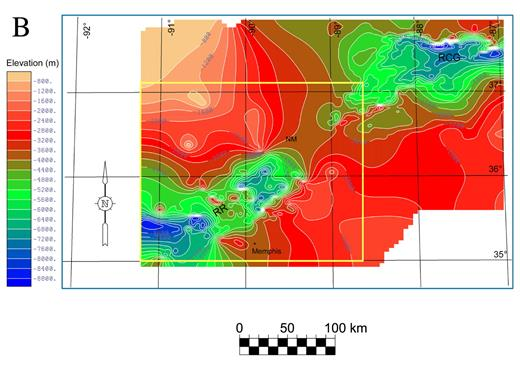 Figure 4. (continued). (B) Precambrian unconformity structure contour map from A including the Reelfoot rift (RR) and the Rough Creek graben (RCG). NM—New Madrid. Yellow box denotes location of Figures 5 and 6. Elevation datum is sea level.