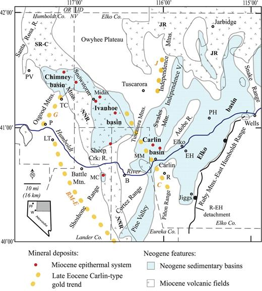 """Figure 1. Locations of the Miocene Elko, Carlin, Ivanhoe, Chimney, and adjacent sedimentary basins, shown with the light blue color, and major geographic features in northeastern Nevada. Areas with the """"v"""" pattern are underlain by middle Miocene rhyolitic and basaltic volcanic rocks; JR—Jarbidge Rhyolite; NNR—northern Nevada rift; SR-C—Santa Rosa–Calico volcanic field. The dotted yellow lines indicate the major late Eocene gold-deposit trends; BM-E—Battle Mountain–Eureka; C—Carlin; G—Getchell; J—Jerritt Canyon. The solid red circles are the locations of middle Miocene epithermal systems that were active at the same time as the sedimentary basins; other epithermal systems beyond the limits of this study area are not shown. Abbreviated geographic locations: B—Beowawe; EH—Elko Hills; LT—Lone Tree mine; MC—Mule Canyon; MM—Marys Mountain; P—Preble mine; PH—Peko Hills; PV—Paradise Valley; R—Rain mine; TC—Twin Creeks mine. R-EH—Ruby Mountains–East Humboldt Range detachment and high-angle faults. Inset map shows the location of the study area (gray); W—Winnemucca; PF—Pine Forest Range."""