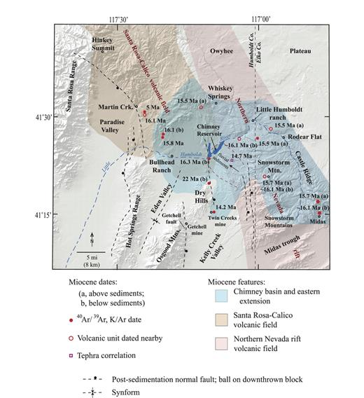 Figure 3. Map of the Chimney basin and Snowstorm Mountains areas, showing the original known and inferred extents of the sedimentary basin, middle Miocene volcanic fields, dates of various sedimentary and volcanic units, and post-sedimentation normal faults and synforms. Areas that do not have an overlay color are underlain by pre-Miocene basement rocks (especially in the Santa Rosa and Hot Springs Ranges and Osgood Mountains), post-middle Miocene sedimentary cover (Paradise, Eden, and Kelly Creek Valleys), and post-sedimentation volcanic cover (Owhyee Plateau region). Some volcanic units along the northern Nevada rift and in the Santa Rosa–Calico volcanic fields were erupted after sedimentation ended, but they are included within the volcanic fields regardless of relative age. See Table 1 for geochronologic information. The modern digital elevation map is used as the base.