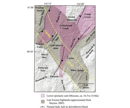 Figure 9. Paleogeographic map of the Carlin basin area during its early stages of formation. Shown are late Eocene highlands (estimated from page-size figure in Haynes, 2003), possible early-basin normal faults, and the distribution of the basal fluvial unit of the Humboldt Formation, which was the first Miocene unit to be deposited in the basin. Shown also is the approximately outline of the Carlin gold trend (yellow lines), from which numerous Oligocene to early Miocene supergene alunite dates were obtained.