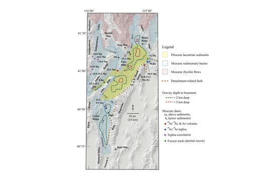 Figure 10. Map of the Elko basin area and the Independence Valley. The map shows the original known and inferred extents of the middle Miocene and Pliocene sedimentary units, dates of various sedimentary and volcanic units, and the Ruby–East Humboldt detachment fault system. Uncolored areas include areas of pre-Miocene rocks and, in some areas to the north, the Jarbidge Rhyolite (see Fig. 1). Areas east and south of the Ruby Mountains and East Humboldt Range are outside of the study area and include both pre-Miocene basement units and Quaternary sediments but only trivial amounts of Miocene units. The gravity, depth-to-basement contours were created from gravity data and maps in Ponce (2004). See Table 1 for geochronologic information. The modern digital elevation map is used as the base.