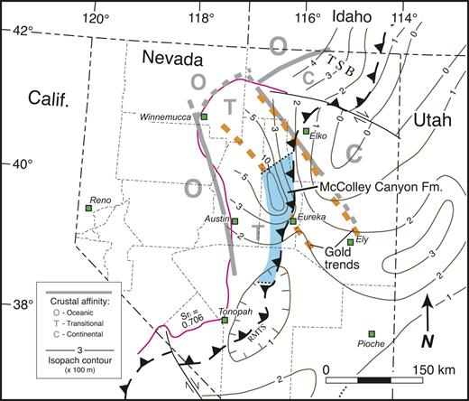 Figure 5. Partly restored base map of northern and central Nevada, showing plot of Lower Devonian isopachs (thin brown lines, contour interval is 100 m), Sri (87Sr/86Sr) = 0.706 isopleth, crustal affinity (fields defined by bold gray lines), trends of Carlintype gold deposits (bold dashed gold lines; Battle Mountain–Eureka trend is southwestern line, Carlin trend is northeastern line), and approximate present outcrop extent of Pragian–lower Eifelian McColley Canyon Formation. The thick McColley Canyon Formation is interpreted to record an Early–Middle Devonian shelf-margin basin flanked by syndepositional, deep-seated faults within underlying basement of inferred transitional continental to oceanic composition. The McColley Canyon depocenter also appears as an anomalous, eastward-projecting embayment of slope facies on the Lower Silurian–Middle Devonian lithofacies map of Poole et al. (1992, plate 3–2). Tristate basin (TSB), Nevada county boundaries, and major towns are shown. Abbreviations: RMTS—Roberts Mountains thrust system. Data compiled from Kendall (1975), Poole et al. (1977, 1992), Crafford and Grauch (2002), Emsbo et al. (2006), and M.A. Murphy (14 September 2007, personal commun.).
