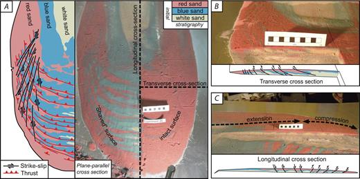 Cross sections from some scaled experiments. (A) Types of cross section with base-parallel cross section on left. Note that the lithological repetitions follow thrust-fault orientation. (B) Transverse and (C) longitudinal cross sections with preserved layering affected by various structures.